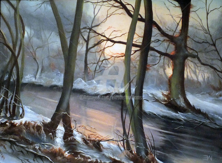 A Winters' Sunset (Framed) - Painting,  43x53x3 cm ©2016 by Elizabeth Williams -                                                                                                                                Classicism, Contemporary painting, Figurative Art, Impressionism, Garden, Landscape, Light, Nature, Rural life, Landscape, river, trees, snow, winter, oil painting, framed oil painting, ready to hang