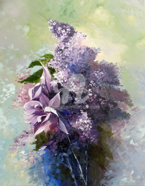 Iris and Lilacs - still life - Painting,  20.1x16.1x1.6 in, ©2017 by ELIZABETH WILLIAMS -                                                                                                                                                                                                                                                                                                                                                                                                                                                                                                                                                                                                                                      Expressionism, expressionism-591, Flower, Garden, Love / Romance, Nature, Still life, Still life, garden, flowers, nature, purple flowers, lilacs and iris flowers