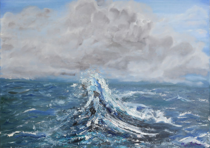 """Painting titled """"Wave II"""" by Eliza Matica, Original Art, Oil Mounted on Stretcher frame"""
