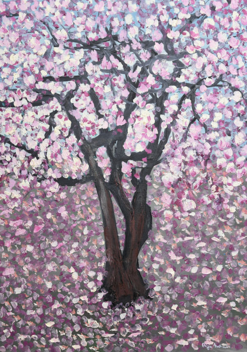 """Painting titled """"Magnolia"""" by Eliza Matica, Original Art, Oil Mounted on Stretcher frame"""