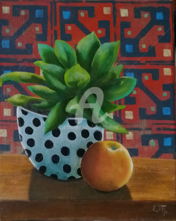 """Painting titled """"Still Life with App…"""" by Elke Thiébaut, Original Art, Acrylic"""