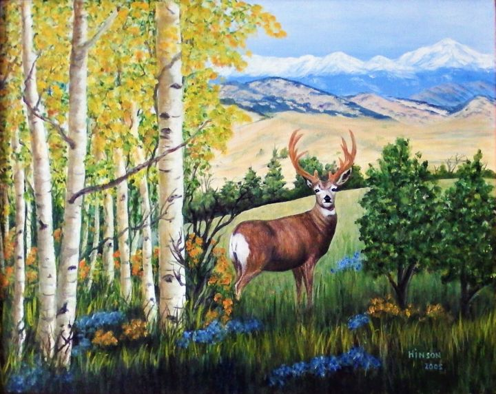 """Painting titled """"Deer in the Aspens"""" by Ellen Hinson, Original Art, Oil Mounted on Stretcher frame"""