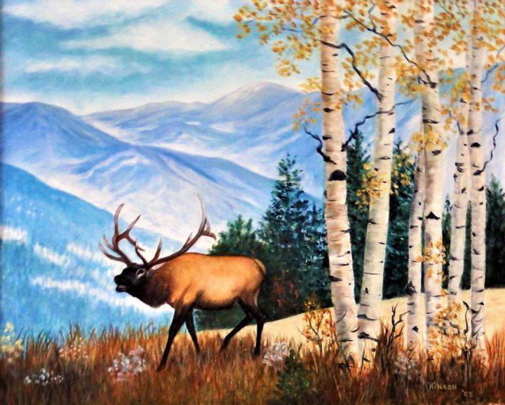 """Painting titled """"Elk in the Aspens A…"""" by Ellen Hinson, Original Art, Oil Mounted on Stretcher frame"""