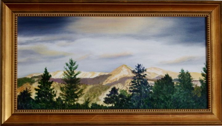 """Painting titled """"Sunset Over Pikes P…"""" by Ellen Hinson, Original Art, Oil"""