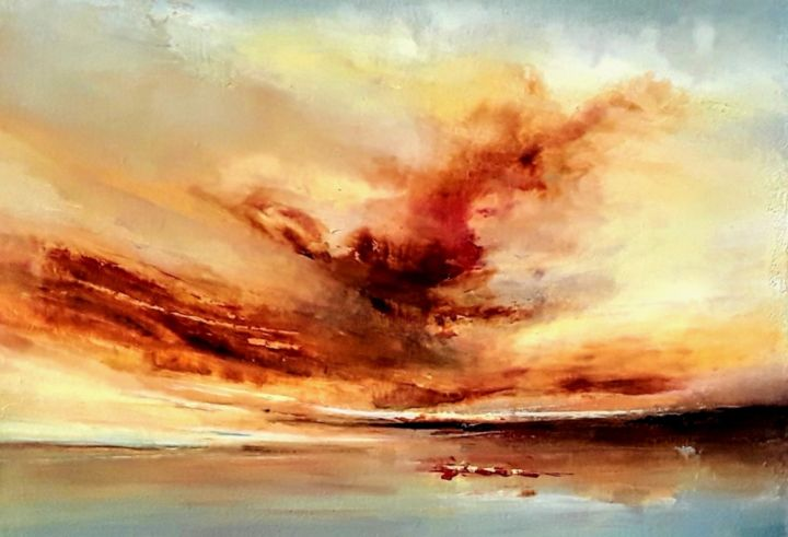 Watch the Clouds paint the Sky - Painting,  70x50x2 cm ©2019 by Olena Topliss -                                                            Abstract Art, Canvas, Seascape, abstract art, seascape, sunset, sunrise, original oil painti, beach