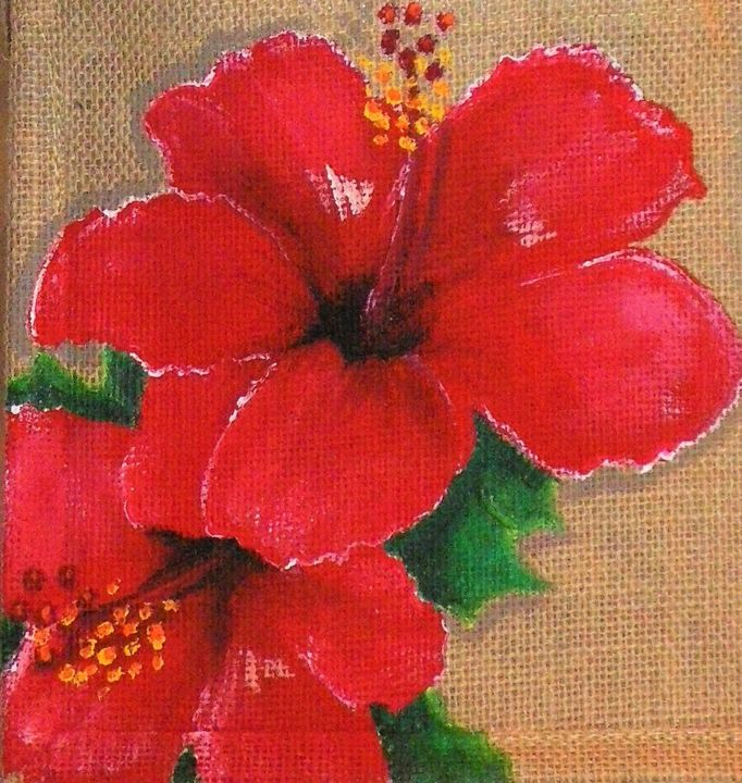 """Design titled """"Hibiscus rouge amou…"""" by Nora Leynadier, Original Art, Accessories"""