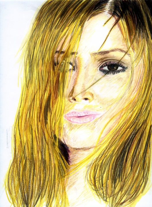 """Drawing titled """"Holly Valance"""" by Elminster, Original Art, Pencil"""