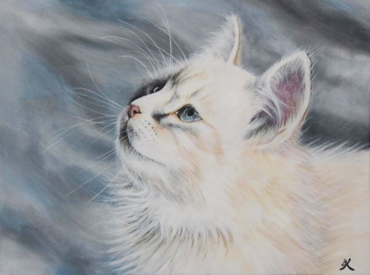 Tableau Chat blanc peinture animalière - Painting,  11.8x15.8x1.2 in, ©2018 by Elodie Fraisse-Margat (Kalipeinture) -                                                                                                                                                                                                                                                                                                                                                                                                                                                                                                                                                                                              Hyperrealism, hyperrealism-612, Wood, Canvas, Animals, Cats, chat, félin, animaux, animal, peinture animalière, animalier