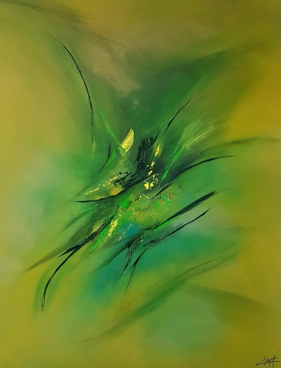Bahiragata - Painting,  116x89x2 cm ©2018 by Elodie Dollat -                                            Abstract Art, Abstract Art, vert, jaune, acrylique