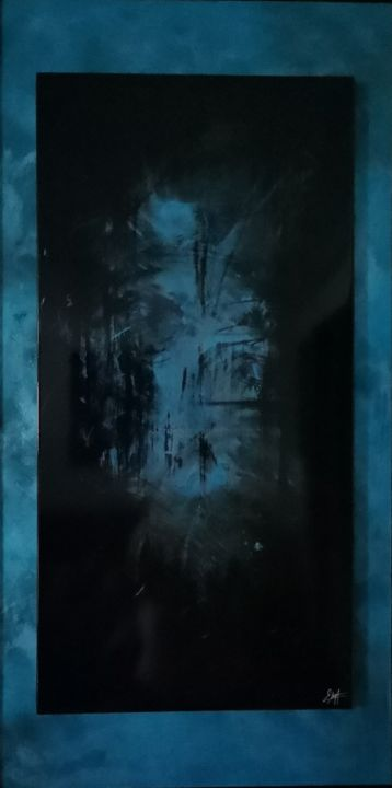 Ondolindë VIII - Painting,  41.7x22.1x1.6 in, ©2019 by Elodie Dollat -                                                                                                                                                                                                                                                                                                                                                              Abstract, abstract-570, Abstract Art, turquoise, noir, bois, aluminium