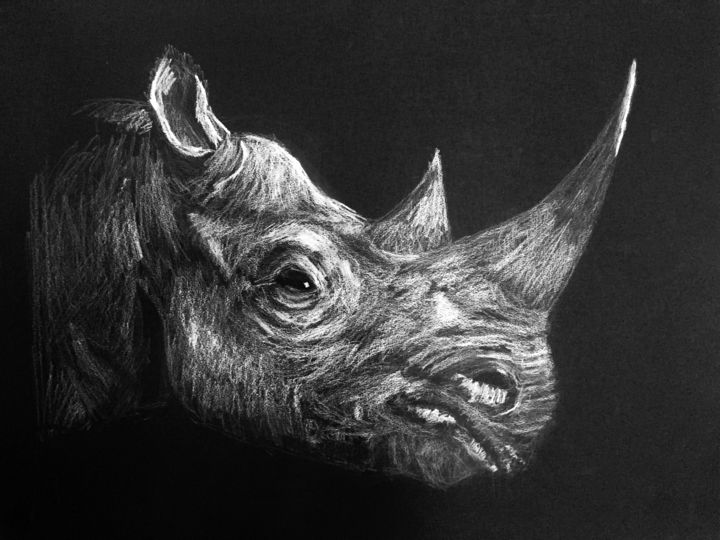 Rhino - Drawing,  65x50 cm ©2017 by Elodie Guiraud EGC -                                                            Art Nouveau, Paper, Animals, dessin animaux, dessin animal sauvage, rhinoceros, animaux sauvage dessin