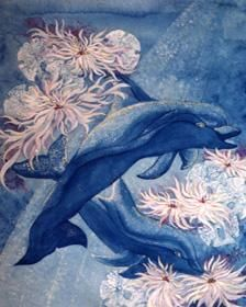 """Painting titled """"DANCING DOLPHINS"""" by Eloryia Ra, Original Art, Other"""