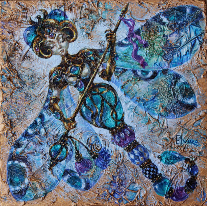 Dragonfly-Warrior - Painting,  31x31x4 cm ©2018 by Elvira Baranova -                                                            Surrealism, Canvas, Fantasy, dragonfly, Elvira Baranova., Art-Deco, Painting
