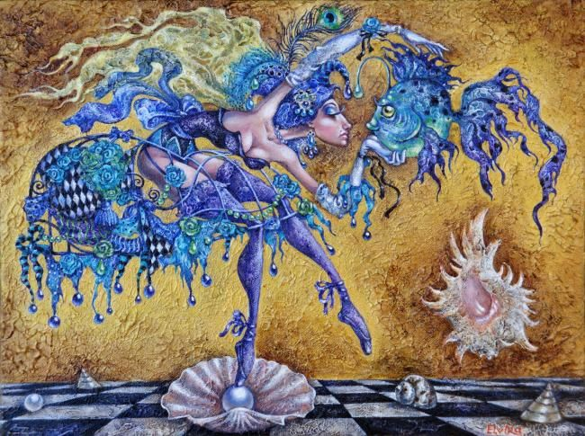 Spirit of Blue Fish - Painting,  12.2x16.1 in, ©2010 by Elvira Baranova -                                                                                                                                                                                                                                              Painting of Blue Fish and angel, shell, pearl, dress, circus