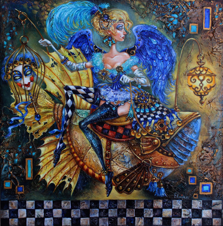 """Angel with Blue wings"" - ©  Woman, Angel, Fish, Art, Oil, Acrylic, painting Online Artworks"