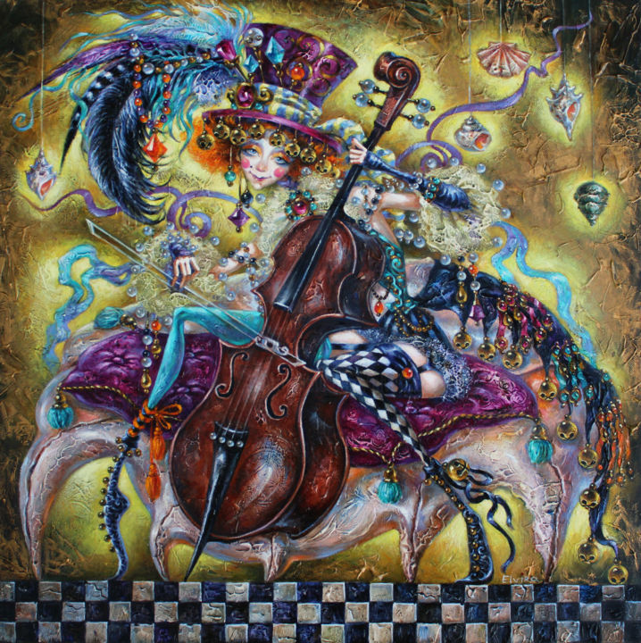 Melody of the Shells - Painting,  24x24 in, ©2014 by Elvira Baranova -                                                                                                                                                                                                                                                                                                                                                                                                          Surrealism, surrealism-627, Fantasy, Woman, shells, music, art, cello