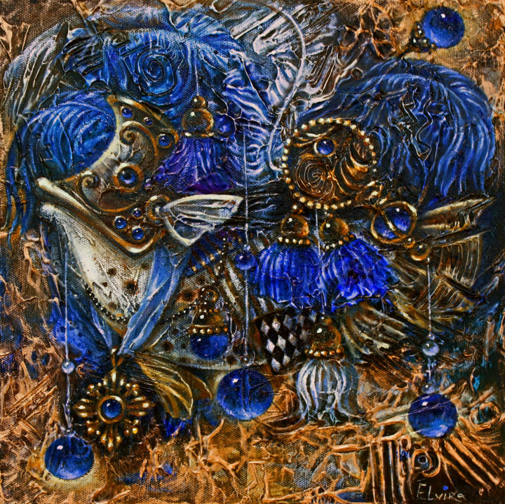 Blue Fish - Painting,  3.5x31x31 cm ©2015 by Elvira Baranova -                                                                        Contemporary painting, Surrealism, Canvas, Fantasy, fish