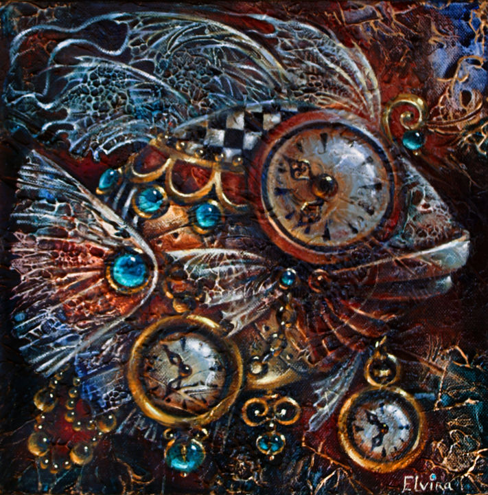 Time-Fish - Painting,  1.5x12x12 in ©2015 by Elvira Baranova -                                                                                                Contemporary painting, Surrealism, Symbolism, Canvas, Fantasy, Fish, Cloack, Time, Fish, Fantasy