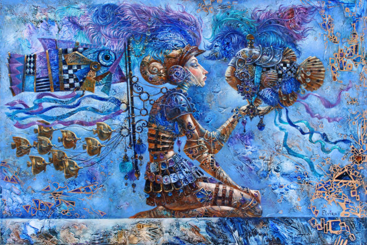 Spirit of Warrior - Painting,  61x91x4 cm ©2015 by Elvira Baranova -                                                                                                                        Art Deco, Contemporary painting, Figurative Art, Surrealism, Canvas, Fantasy, Fish, People, Art, Art for Sale, Contemporary Art, Fantasy