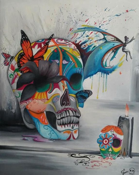 Mexican Skull - Painting,  80x65x1.3 cm ©2017 by Elyse Jeanne -                                                        Contemporary painting, Cotton, World Culture