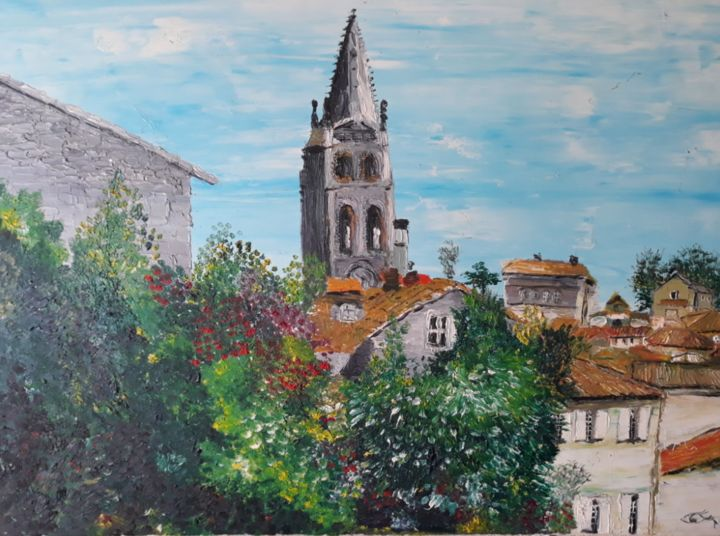 st emilion - Painting,  19.7x31.5 in, ©2002 by OEILME -                                                                                                                                                                          Figurative, figurative-594, Architecture