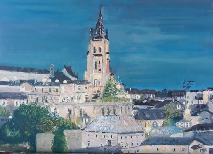 St EMILION - Painting,  19.7x25.6 in, ©2019 by OEILME -                                                                                                                                                                          Figurative, figurative-594, Architecture