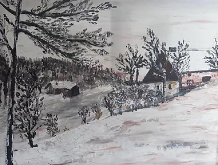 les-vosges - Painting,  19.7x23.6 in, ©2018 by OEILME -                                                                                                                                                                                                                                                                                                                  Figurative, figurative-594, Mountainscape, paysage, vosges, neige