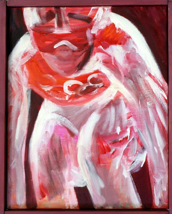 """Painting titled """"Skiing woman II."""" by Emese Bács, Original Art, Oil Mounted on Stretcher frame"""