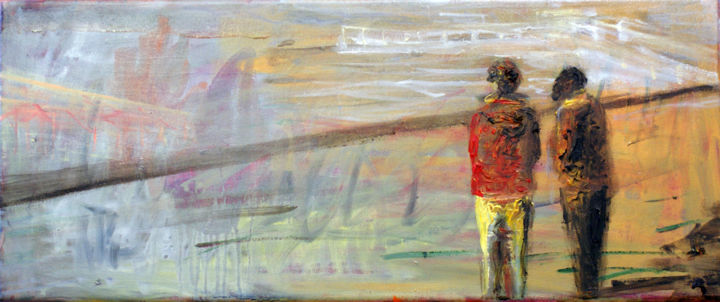 """Painting titled """"On the beach I."""" by Emese Bács, Original Art, Oil Mounted on Stretcher frame"""