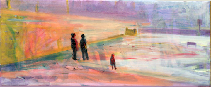 """Painting titled """"On the beach II."""" by Emese Bács, Original Art, Oil Mounted on Stretcher frame"""