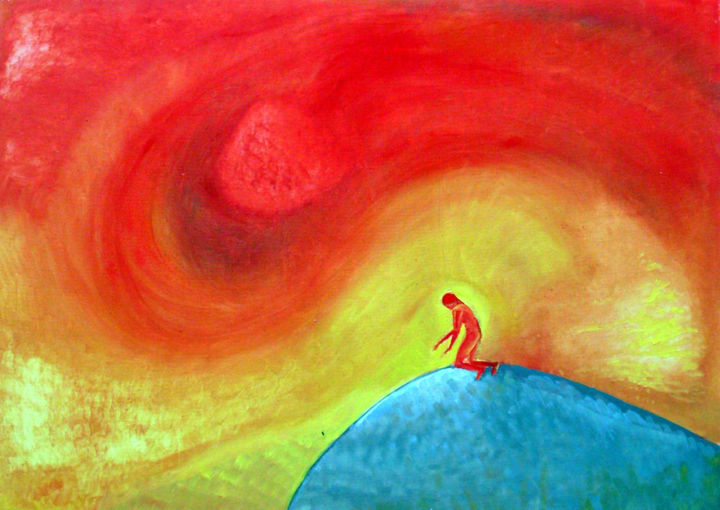 Red vortex, guy alone, searching on hill. or? - Painting,  19.7x27.6 in, ©2008 by Emilia Amaro -                                                                                                                                                                                                                                                                  Abstract, abstract-570, Landscape, Light, Spirituality