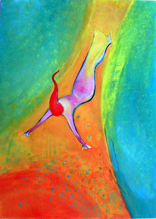 """Painting titled """"Falling to the depth"""" by Emilia Amaro, Original Art, Oil"""
