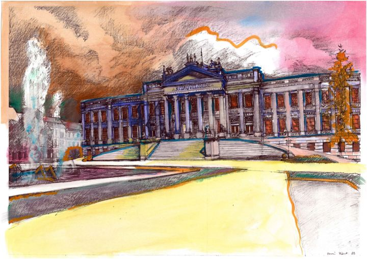 """Painting titled """"Museum in Szeged"""" by Emilia Amaro, Original Art, Watercolor"""
