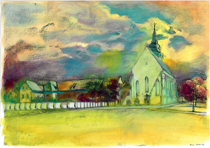 """Painting titled """"Old church in Szege…"""" by Emilia Amaro, Original Art, Watercolor"""