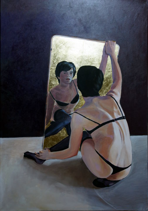 Do you satisfy? - Painting,  35.4x0.8x23.6 in, ©2015 by Emilia Amaro -                                                                                                                                                                                                                                                                                                                                                                                                                                                                                                                                                                                          Figurative, figurative-594, Body, Men, People, Act, nude, figurative, gay, transgender, crossdressing, unisex