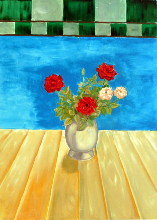 Roses in the window - Painting,  27.6x19.7 in, ©2009 by Emilia Amaro -                                                                                                                                                                                                                                                                                                                                                                                                          Figurative, figurative-594, Botanic, Flower, Still life, Roses, Red, Window