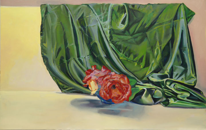 """Painting titled """"Roses with green sa…"""" by Emilia Amaro, Original Art,"""