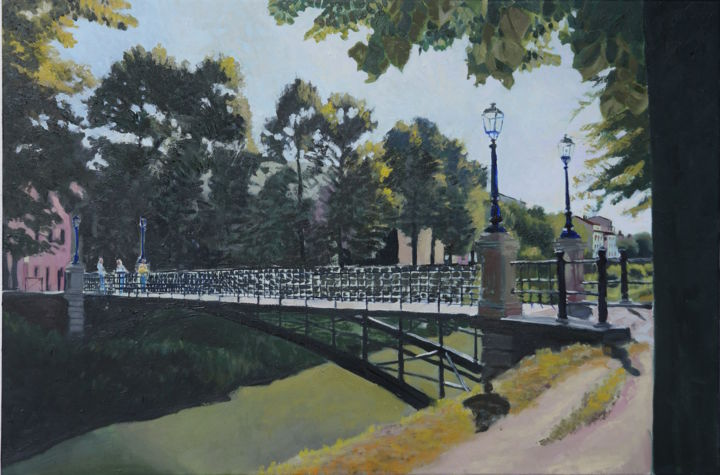 Padova Iron Bridge - Painting,  0.4x15.8x23.6 in, ©2015 by Emilia Amaro -                                                                                                                                                                                                                                                                                                                                                                                                                                                      Impressionism, impressionism-603, Architecture, Cities, Landscape, Places, Italy, Structures, Canal