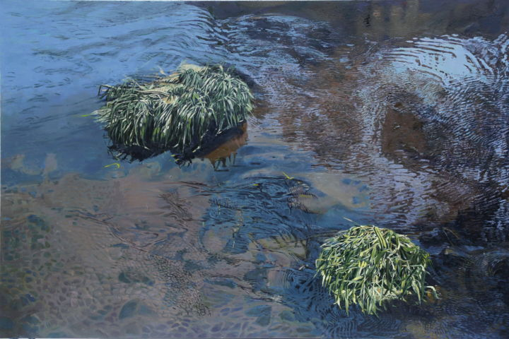 Variations of the appearance of the Branch-water - Painting,  0.4x31.5x47.2 in, ©2015 by Emilia Amaro -                                                                                                                                                                                                                                                                                                                                                                                                                                                                                                                                                                                                                                                                                                                              Figurative, figurative-594, Landscape, Nature, Places, brook, Bourne, branch, creek, runnel, rivulet, watercourse, arroyo, branch water, torrent