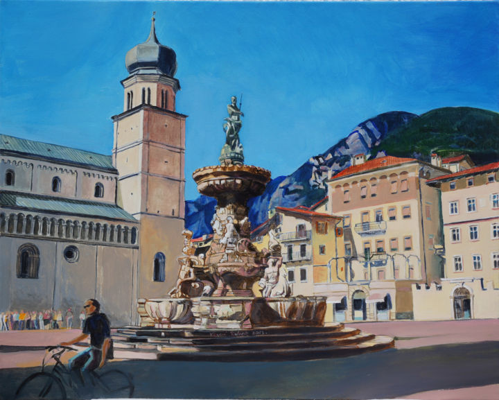 Trento with  the Chatedral - Painting,  15.8x19.7x0.4 in, ©2015 by Emilia Amaro -                                                                                                                                                                                                                                                                                                                                                                                                          Hyperrealism, hyperrealism-612, Architecture, Cities, Places, Fountain, renessaince, Square