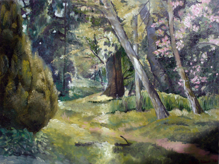 Botanic garden in Szeged with trees - Painting,  11.8x15.8x0.1 in, ©2010 by Emilia Amaro -                                                                                                                                                                                                                                                                                                                                                                                                                                                                                                  Figurative, figurative-594, Landscape, Nature, Places, Hungary, Spring, Forest, Woods, Folies