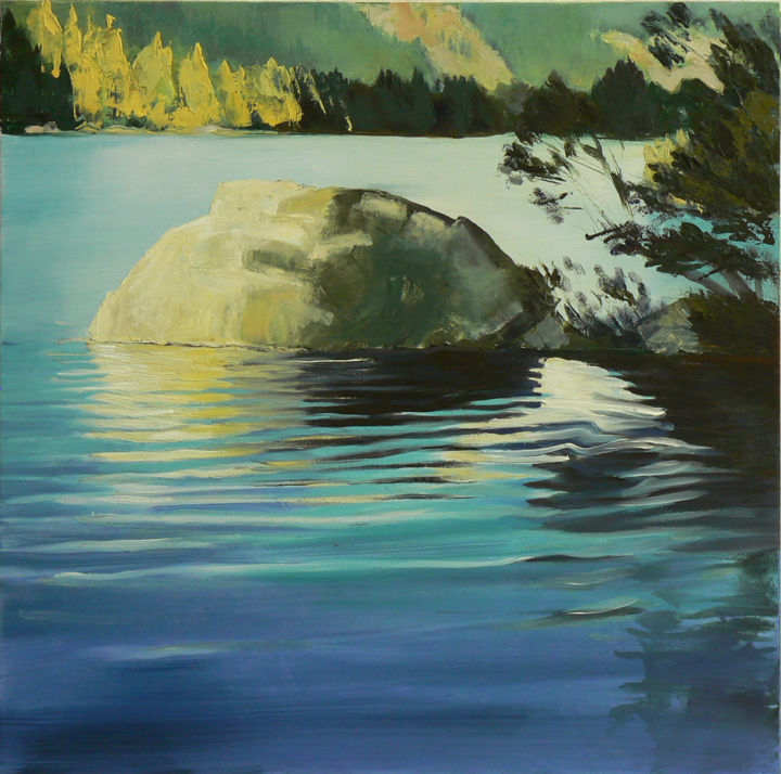 Stone on the Lake - Painting,  23.6x23.6x0.4 in, ©2013 by Emilia Amaro -                                                                                                                                                                                                                                                                                                                                                                                                                                                                                                                                              Conceptual Art, conceptual-art-579, Landscape, Nature, Places, Water, South-Tirol, Lago di Braies, Praxeer See, Lake, Pound
