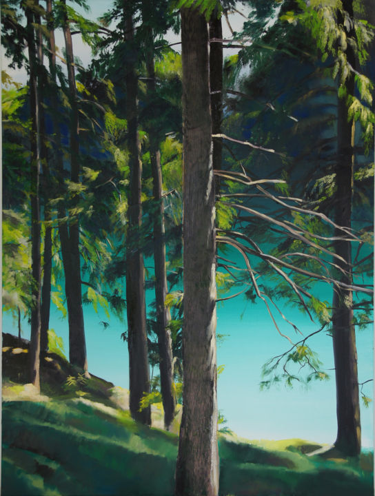"""Painting titled """"Lake from  the Fore…"""" by Emilia Amaro, Original Art, Oil"""