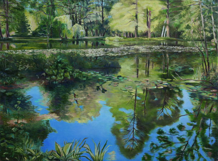 Peacefully lake - Painting,  23.6x31.5x0.4 in, ©2016 by Emilia Amaro -                                                                                                                                                                                                                                                                                                                                                                                                                                                                                                                                                                                          Hyperrealism, hyperrealism-612, Garden, Landscape, Nature, Places, Pond, water, forest, park, green, blue