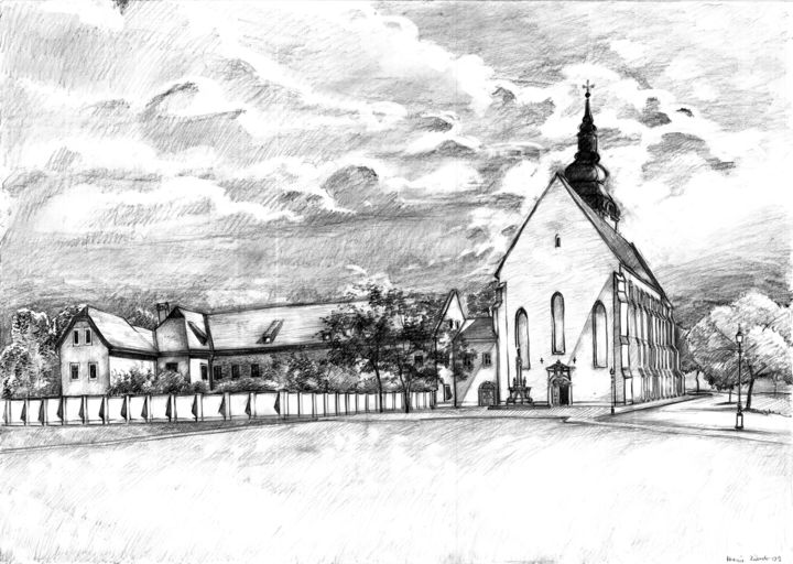 Szeged old Cathedral - Drawing,  16.5x23.2 in, ©2009 by Emilia Amaro -                                                                                                                                                                                                                                                                                                                                                                                                                                                      Conceptual Art, conceptual-art-579, Cityscape, Landscape, Places, Hungary, clouds, sky, baroque