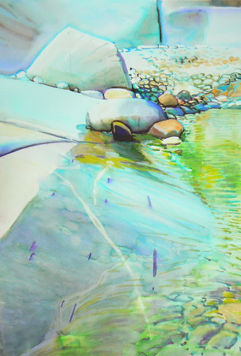 Sandy shore - Painting,  19.7x11.8 in, ©2017 by Emilia Amaro -                                                                                                                                                                                                                                                                                                                                                                                                                                                                                                  Hyperrealism, hyperrealism-612, Landscape, Nature, Places, Stone, grave, shore, lake, pond