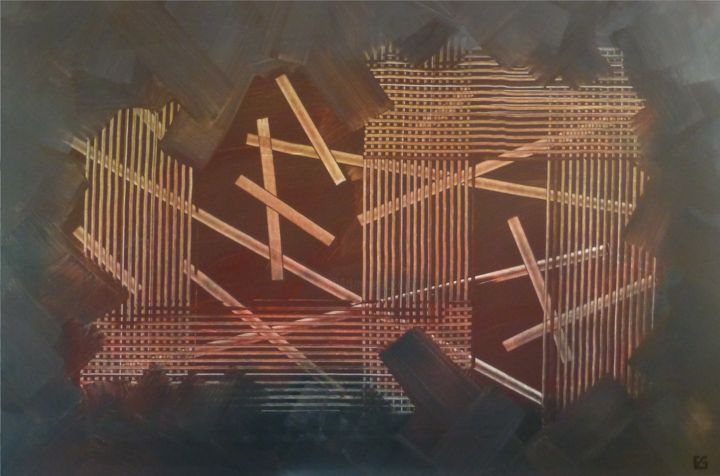 """Emile G  """"Structure 4"""" 80 cm x 120 cm - Painting,  31.5x47.2 in, ©2015 by Emile G -"""