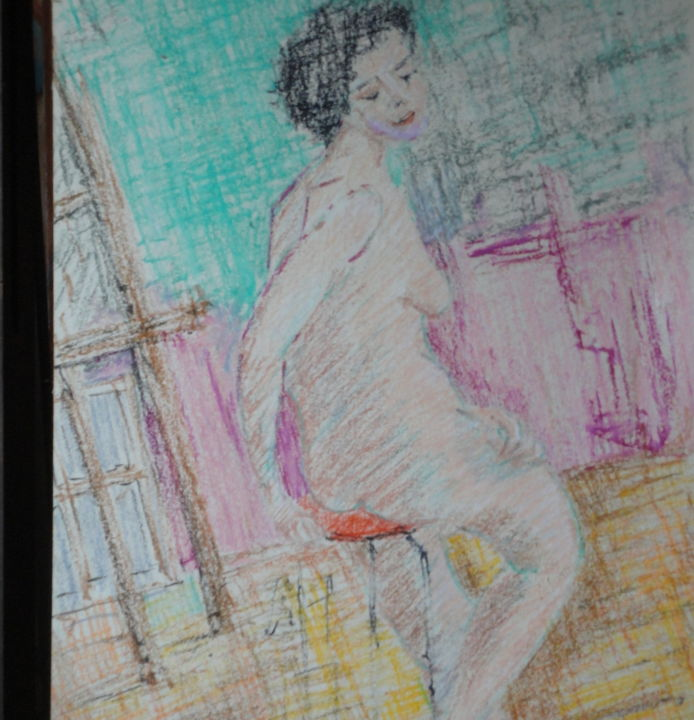 """""""Pose"""" - Painting,  15.8x24.4 in, ©2017 by Emile PAYA -                                                                                                                                                                                                                                                                                                                                                                  Figurative, figurative-594, Other, Body, pose, modèle, tabouret"""