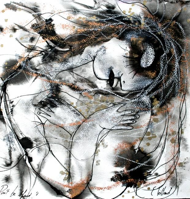 Don't be afraid - Drawing,  30x30 cm ©2012 by Emilie Teillaud -