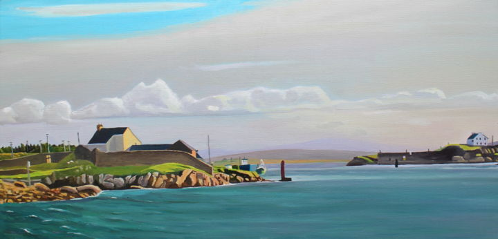Mind The Gap - Painting,  15.8x31.5x0.8 in ©2019 by Emma Cownie -                                            Impressionism, Landscape, Ireland, Irish, Sea, Wild Atlantic Way, Donegal, Coast, Landscape, Cottage, Rocks, Boats, Sky, Clouds, Blue